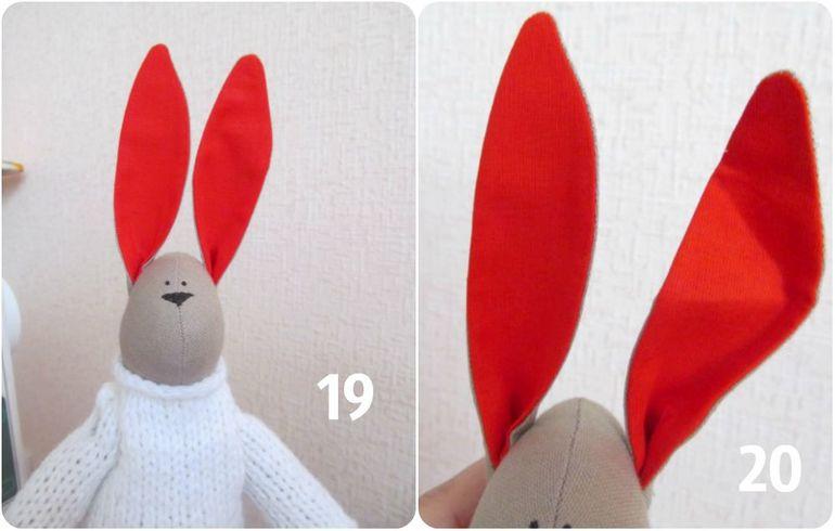 Выкройка ушей зайца тильда