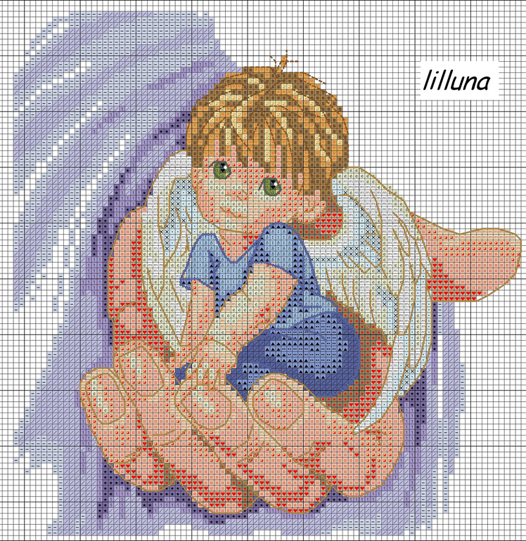 Вышивка ангела для мальчика