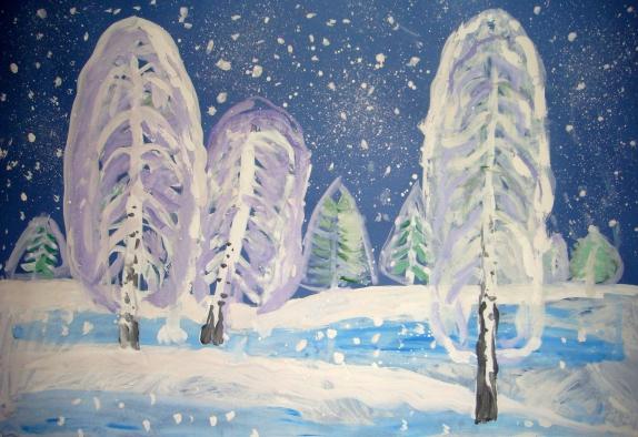Зимний пейзаж нарисовать ребенку