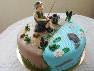 торты для рыбака на юбилей