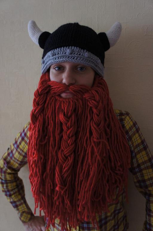 шапка шлем викинга как связать шапку с бородой спицами запись