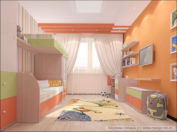 Дизайн детской на двоих 12 кв.м