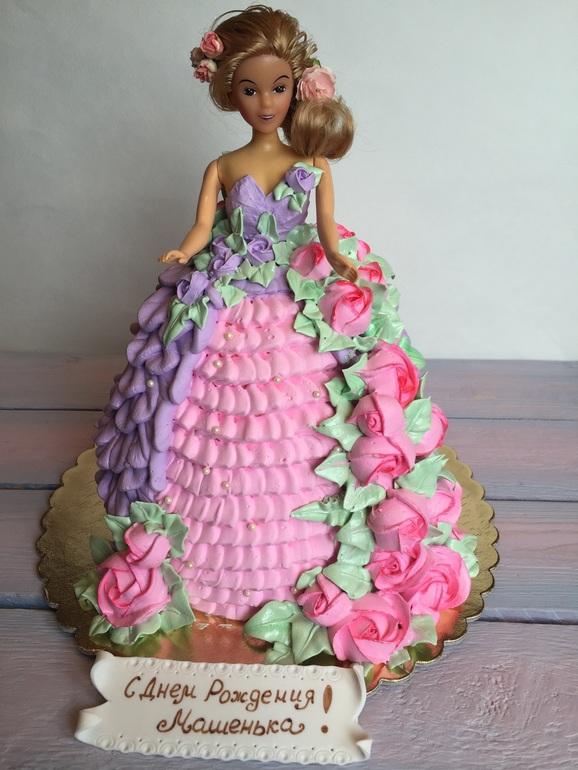 Как кремом украсить торт куклу кремом