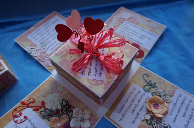Коробка с поздравлениями на день рождения