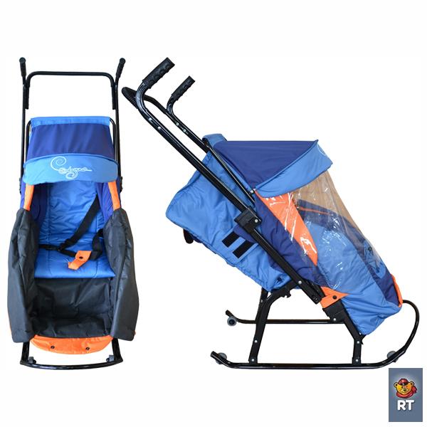 Санки-коляска Скользяшки с 4 колёсиками новые