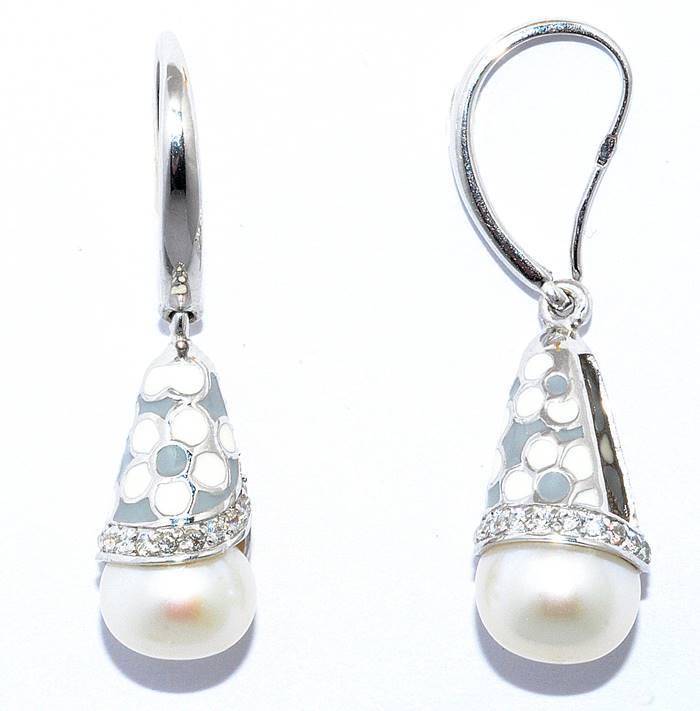 Красивые серебряные серьги Silver Wings с жемчугом