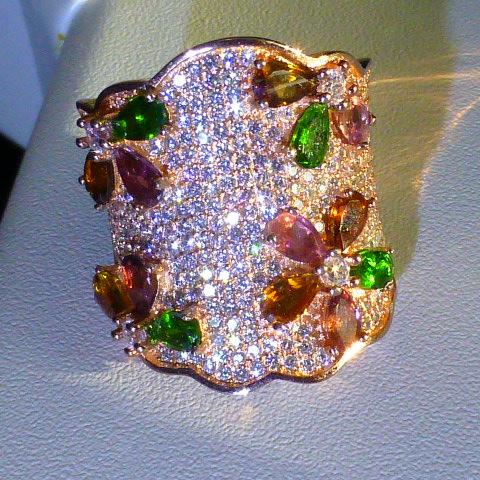 кольцо перстень серебро 925*+роз.золото,турмалины