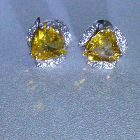 серьги-гвоздики серебро 925*+цитрины+цирконы