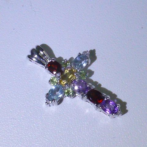 подвеска кулон в виде креста серебро 925*+полудраг