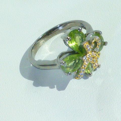 кольцо перстень серебро+золото+родий+перидоты+цк