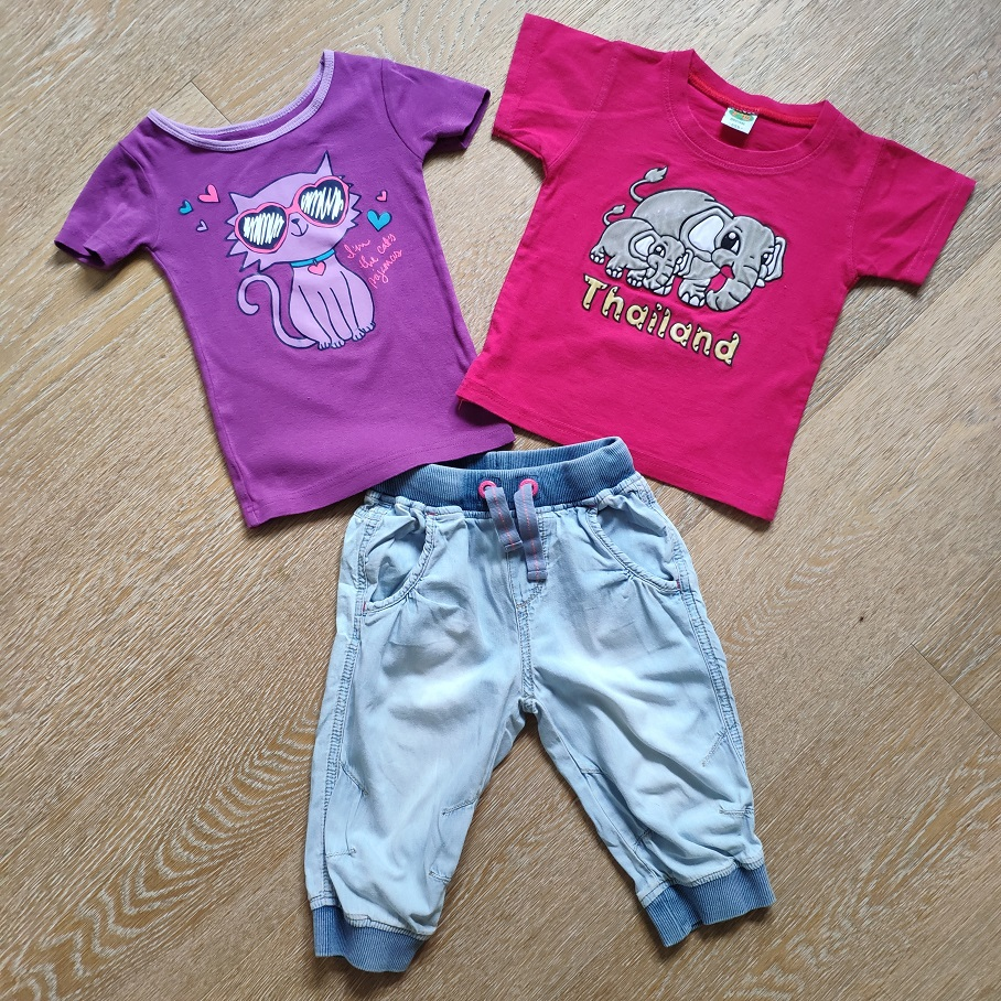 Комплект джинсы-бриджи + 2 футболки б/у, 2-4года