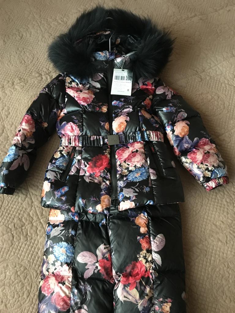 """Пуховый зимний костюм """"Цветы"""" Jums kids размер 110"""