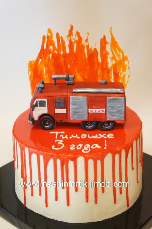 Кремовый торт пожарная машина