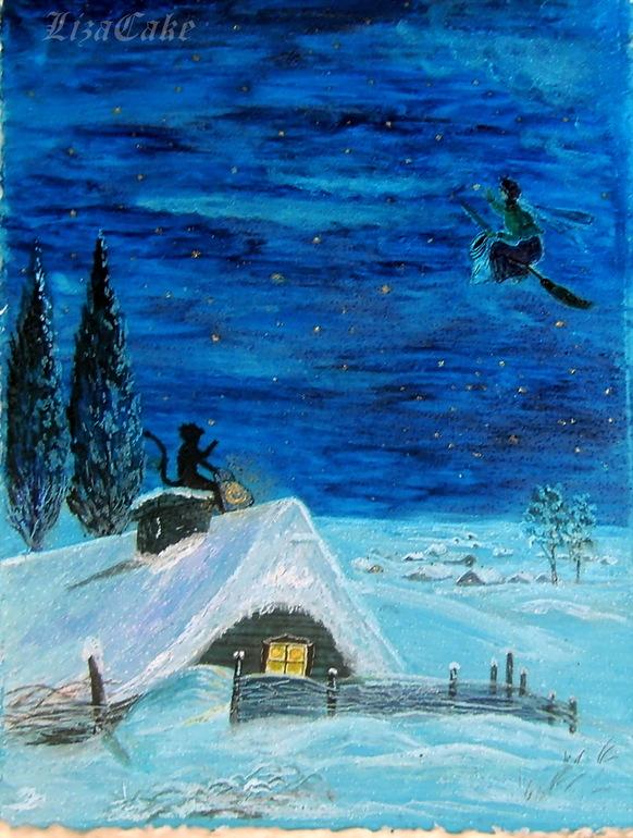 Картинки ночь перед рождеством нарисовать