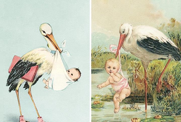 Открытки с аистом и младенцем, смешные картинки картинка