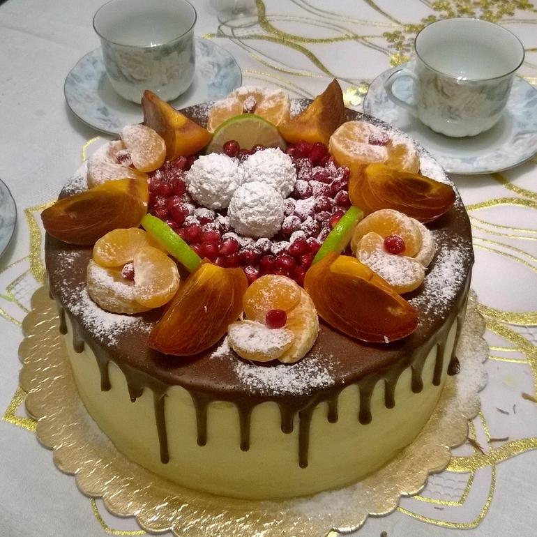 Торт с орехами и фруктами рецепт
