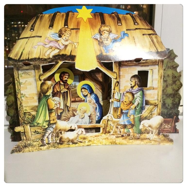 конструктивная открытка рождественский вертеп начинку край блина