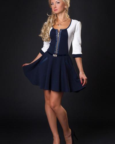 Платье № 880-т.синий