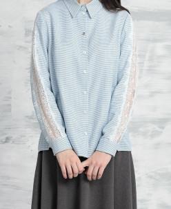 Р1111 блузка Цвет1: голубой+зеленый оттенок