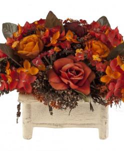 Терракотовые розы в корзине (15х12х14)