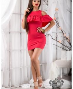 Платье с воланами- 9599