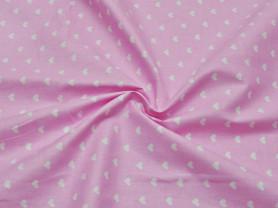 """Ткань Бязь """" Белые сердечки""""на розовом, хлопок"""