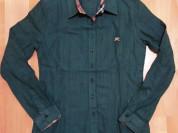 Рубашка батник Burberry, темно-зеленый цвет