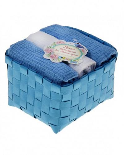 """Наб. вафельных полотенец """"Collorista"""" Blue white"""
