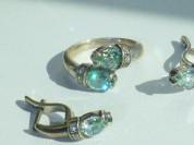 кольцо+серьги серебро 925* + аквамарины + цирконы