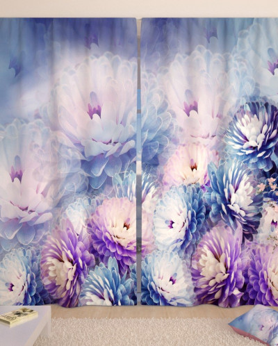 Фотошторы Нежные хризантемы Блэкаут 150*300