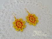 Серьги макраме. Жёлтый цветок.