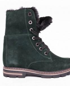 Ботинки №412-3 зеленый замш
