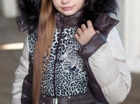 """Пальто зимнее """"Леопард"""" Беж/Шоколад  за 4500 руб"""