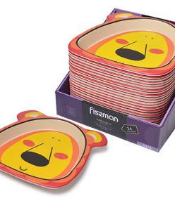 9470 FISSMAN Плоская тарелка 21x21 см ЛЬВЕНОК из бамбукового