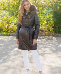 Женская зимняя куртка из эко-кожи 8112 темно-коричневая