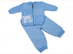 Костюм вязаный для новорожденных ТЕДДИ/голубой