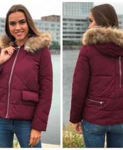 Женская куртка 1808 с натуральным мехом винная