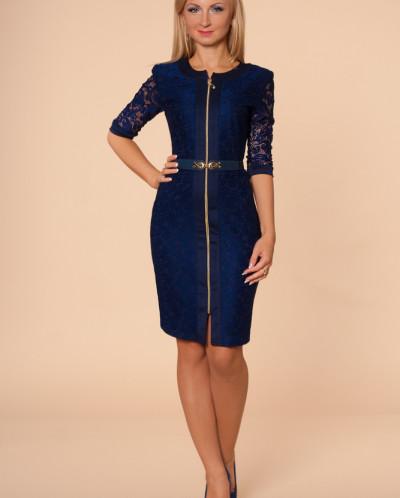 Платье № 873-т.синий