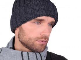 Мужская Зимняя Шапка!Модная вязка в резинку!56-58р