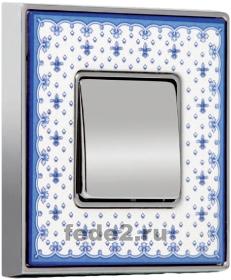 VINTAGE PORCELAIN Рамка 1 пост BLUE LYS- Bright Chrome