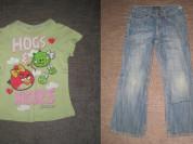 джинсы и футболка р.116