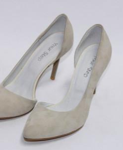 Велюровые изящные туфли лодочки.