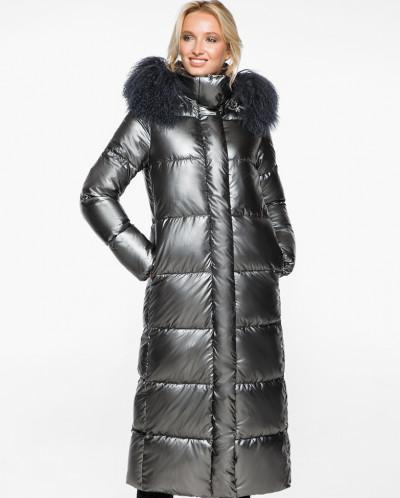 Женский зимний воздуховик модный цвет темное серебро модель