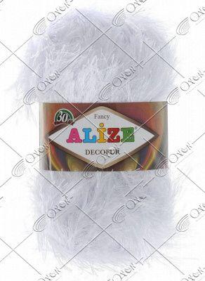 "Пряжа ALIZE ""DECOFUR  fancy"" (100 г)  055 (белый)"