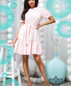Платье с поясом и воланом - 22277