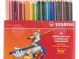 Карандаши цветные 18цв 3-гран Stabilo Trio Jumbo