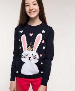 Nakışlı Tavşan Desenli Triko Kazak