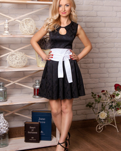 Платье № 850-черн-бел