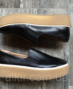 черные слипоны №340-21751 черная кожа (идеал беж)
