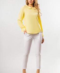 Блузка с круглым воротником желтого цвета